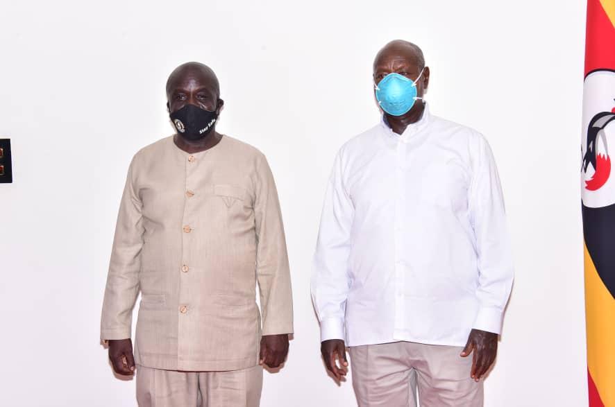 Amb. Abbey Walusimbi and President Museveni at State House Entebbe (PHOTO/PPU).