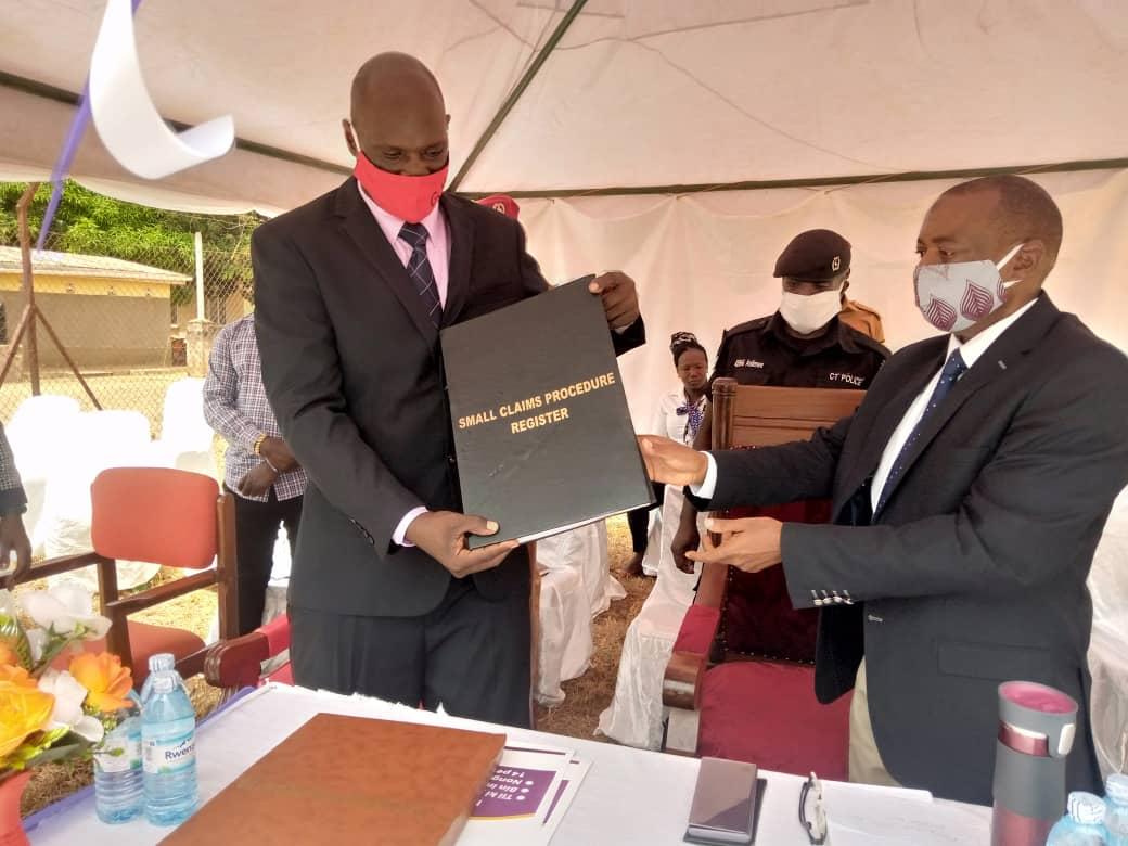 Resident Judge Isa Serunkuma launching SCP at Yumbe court (PHOTO/Courtesy).