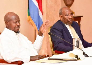 Presideent Yoweri Museveni  and Prime Minister Ruhakana Rugunda attend the presidential investors roundtable at State House Entebbe (PHOTO/File).