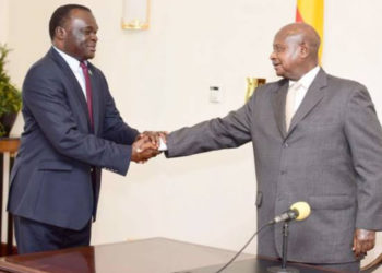 Chief Justice Alphonse Owiny-Dollo and his boss President Museveni respectively (PHOTO/File).