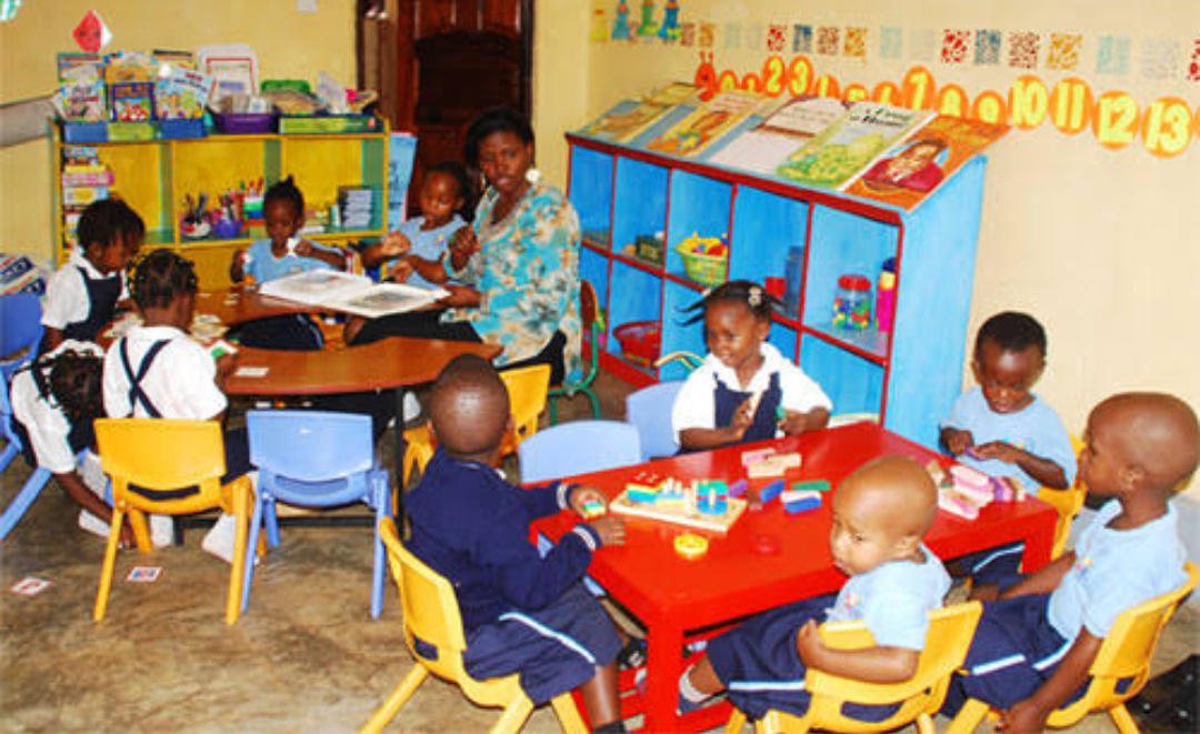 Nursery pupils in class