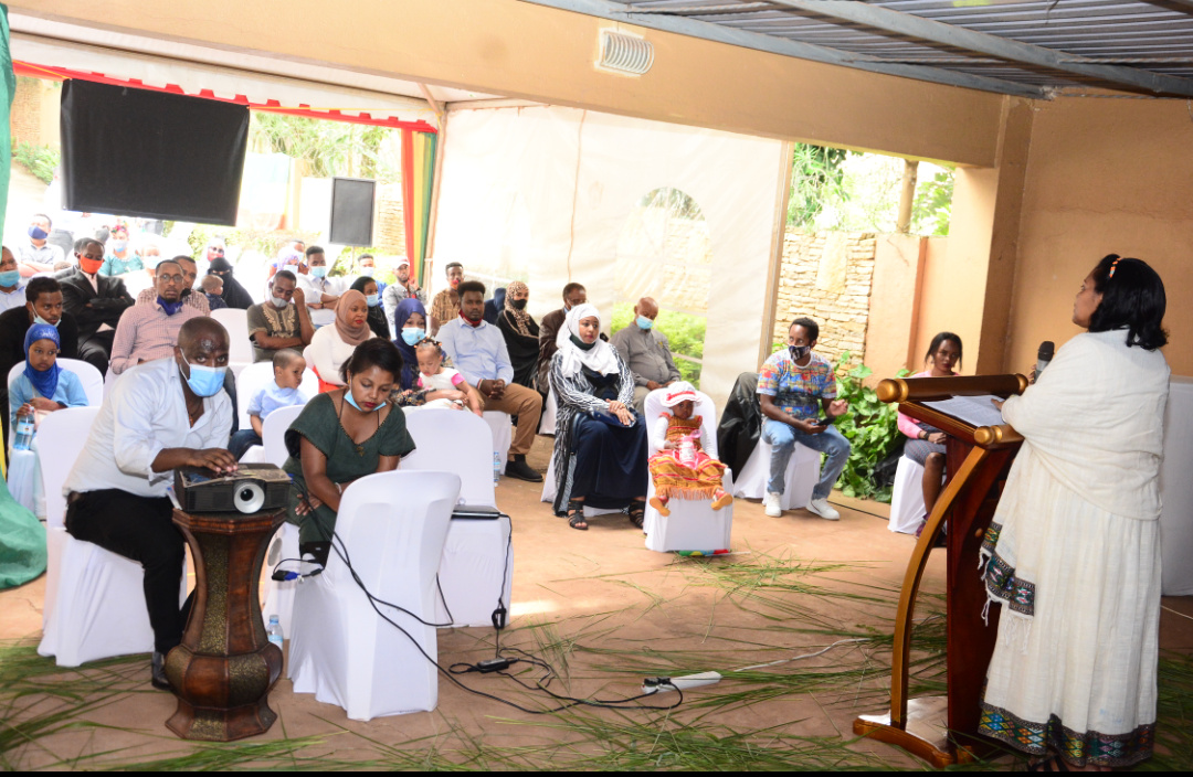 H.E. Ambassador Alemtsehay Meseret, the Ethiopian Ambassador to Uganda addressing the Ethiopian Community in Uganda at the Embassy offices in Kololo (PHOTO/PML Daily).