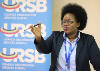 The Registrar General Mercy Kainobwisho gestures during the GI consultative meeting in Kampala (PHOTO/Courtesy).