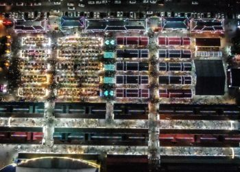 Aerial photo taken on June 7, 2020 shows the Tawan Xingshun International Night Market in Shenyang, northeast China's Liaoning Province (Xinhua/Pan Yulong)