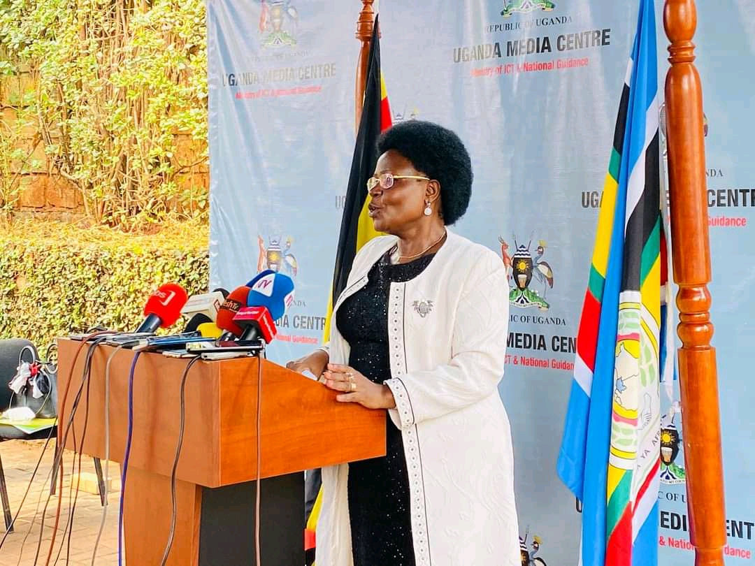 Energy and Mineral Development Minister, Mary Goretti Kitutu addressing the press at Uganda Media Center (PHOTO/Courtesy).