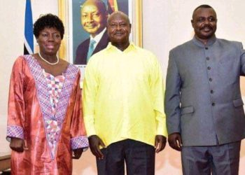 President Museveni (M) with 11 Parliament NRM Speaker candidates Rebecca Kadaga and Jacob Oulanyah (PHOTO/File).