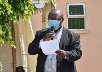 Defence Minister Adolf Mwesige speaking at the launch of vaccination drive on Thursday (PHOTO/Courtesy).