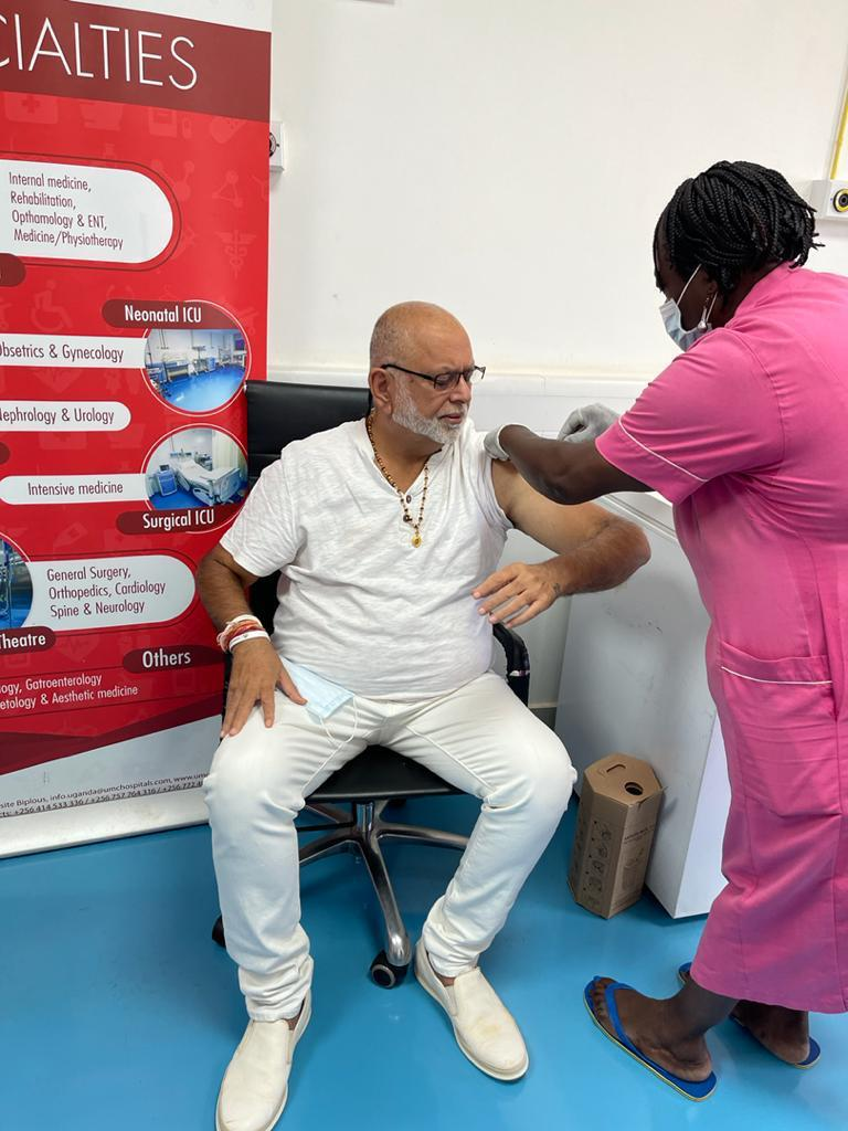 Businessman Sudhir Ruparelia getting vaccined on Thursday (PHOTO/Courtesy).