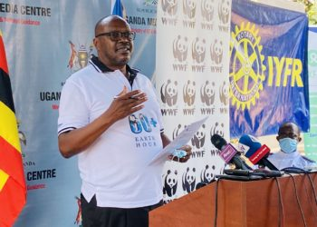 WWF Uganda Country Director, David Duli called  for Behavior change and a Ban on single use plastic (PHOTO/Javira Ssebwami)