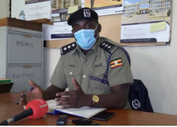 Rwenzori West Regional police spokesperson Vincent Twesige speaking to the media (PHOTO/File).