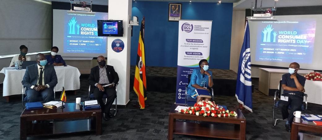 Experts including UCC Executive Director Irene Kaggwa Ssewakambo discuss   consumer rights protection (PHOTO/Javira Ssebwami).