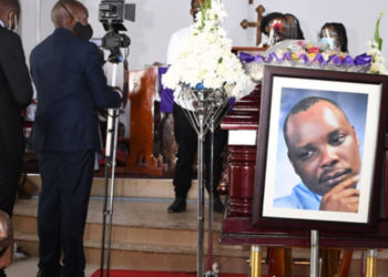 A casket bearing Bob Kasango's body at the All Saints Church on March 2, 2021 during the funeral service (PHOTO/Courtesy).
