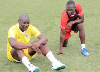 Skipper Dennis Onyango and midfielder Mike Azira at the last training. (PHOTO/Courtesy of Fufa media)