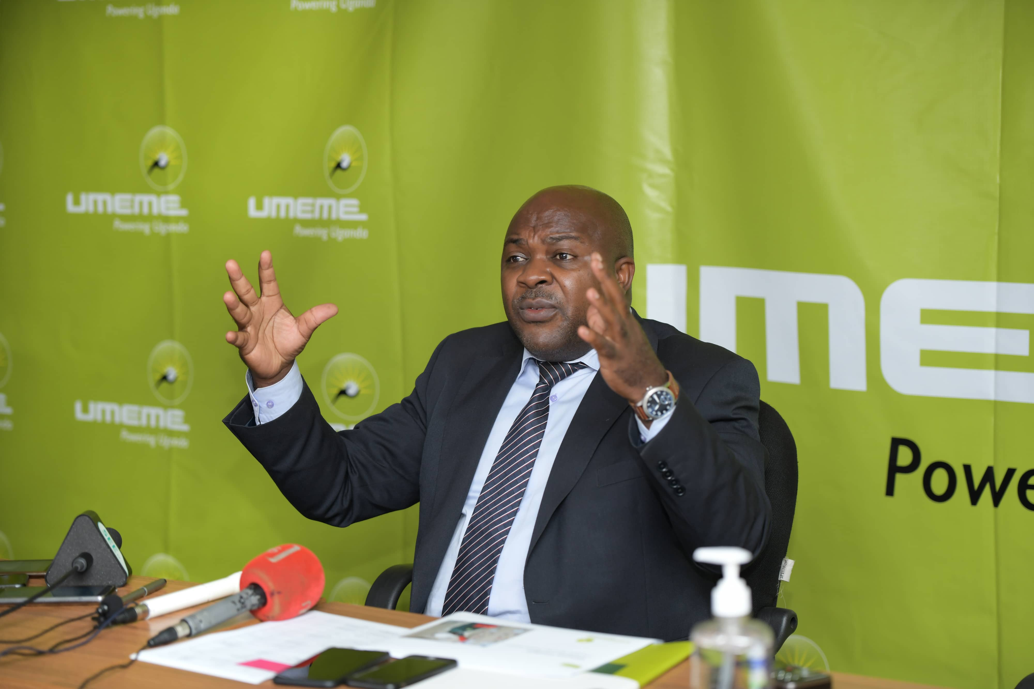 Umeme Managing Director Mr Selestino Babungi speaks to media during the annual results press briefing (PHOTO/Courtesy).