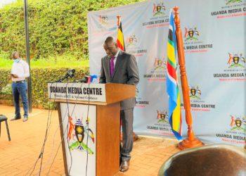 Education and Sports Permanent Secretary, Alex Kakooza speaking to the press at Uganda Media Center PHOTO/File).
