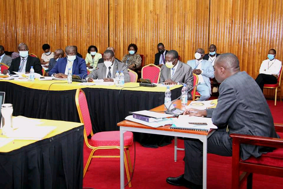 Officials from Ministry of Finance led by Finance Minister Matia Kasaija appearing before the Parliamentary Committee of Finance, Planning and Economic Development (PHOTO/Courtesy).