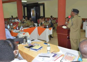 SSP Emilian Kayima speaking to the trainees (PHOTO/Courtesy).