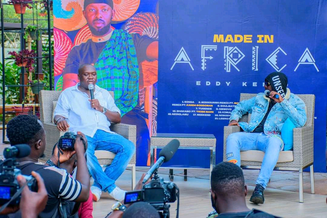 Comedian Salvado and Eddy Kenzo at the launch of Made in Africa album (PHOTO/Courtesy).