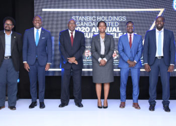 L-R: Dr. Huruna Mawanda - CE Flyhub Technologies, Andrew Mashanda - CE Stanbic Uganda Holdings Ltd (SUHL), Japheth Kato - Board Chairman SUHL, Anne Juuko - CE Stanbic Bank, Jorum Ongura - SBG Securities Uganda Ltd and Spencer Sabiti - CE Stanbic Properties Ltd (PHOTO/PML Daily).