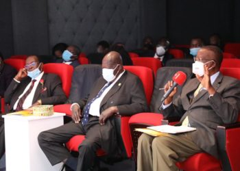 L-R Ambassador Francis Butagira, URSB Board Chair, Hon. Moses Ali, 2nd Deputy Prime Minister & Hon. Prof. Ephraim Kamuntu, Minister of Justice & Constitutional Affairs during the conference (PHOTO/Courtesy).