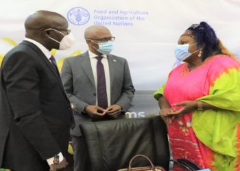 Food Systems Transformation in Uganda: The UN-Country Coordinator, H.E. Rosa Malongo (R), FAO Representative, Mr Antonio Querido (C), and Agriculture Ministry Permanent Secretary, Mr Pius Wakabi engage in a private discussion at the Kampala Serena Hotel on Wednesday. (PHOTO/Courtesy/FAO)