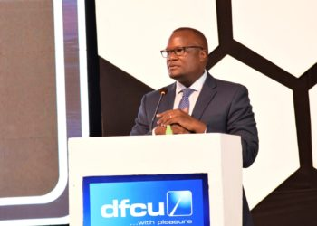 Speaking during the Oil & Gas customer engagement session, dfcu Bank's Chief Executive Officer Mathias Katamba (PHOTO/Courtesy).