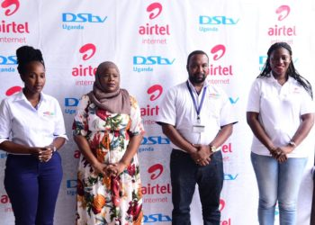 L-R: Joan Semanda Kizza PR and Communications Manager at MultiChoice Uganda, Joweria Nabakka Zziwa, Head Data and Devices at Airtel Uganda,Colin Asiimwe, the Head of Marketing at MultiChoice Uganda, and Sumin Namaganda,Public Relations Manager at Airtel Uganda during a photo moment. This was at the launch of the Airtel Uganda-DStv Tailored Bundles at MultiChoice Uganda Head Offices in Kololo (PHOTO/Courtesy).