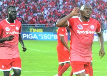 Former Kibuli SS student - Meddie Kagere (R) played against AS Vita in Simba 4-1 win. (PHOTO/File)