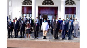 The group that was led by Minister of Justice and Constitutional affairs Prof Palamagamba Kabudi were all masked up at State House Entebbe (PHOTO/Courtesy).