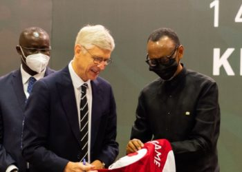 Former Arsenal FC boss - Arsene Wenger hands President Kagame a Jersey in Kigali. (PHOTO/Courtesy)