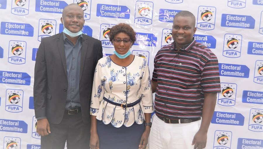 Referees' representative in Fufa general assembly as per the May 8, 2021 elections. R-L - Ronnier Kalema, Rosebell Rwamuyamba and Brian Nsubuga. (PHOTO/Courtesy)