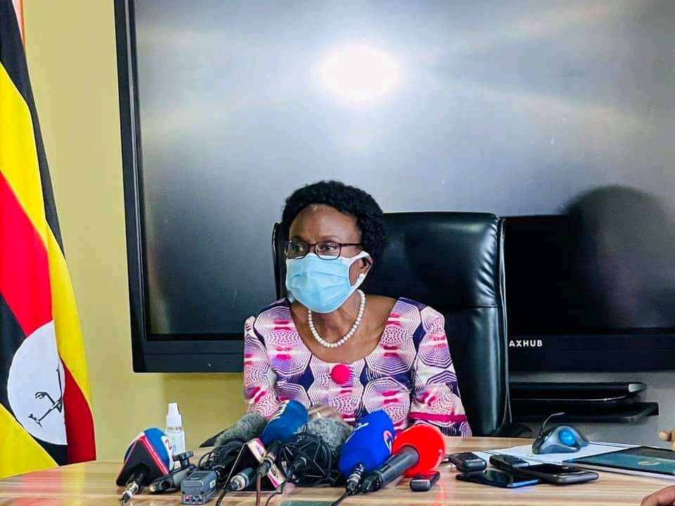 Uganda's Health Minister Jane Ruth Aceng speaking to the press (PHOTO/Courtesy).