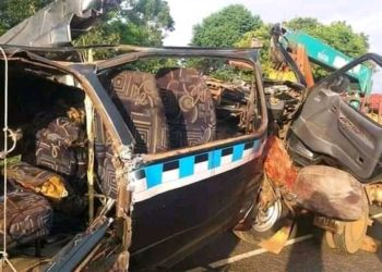 The wreckage of the taxi involved in an accident (PHOTO/Courtesy).