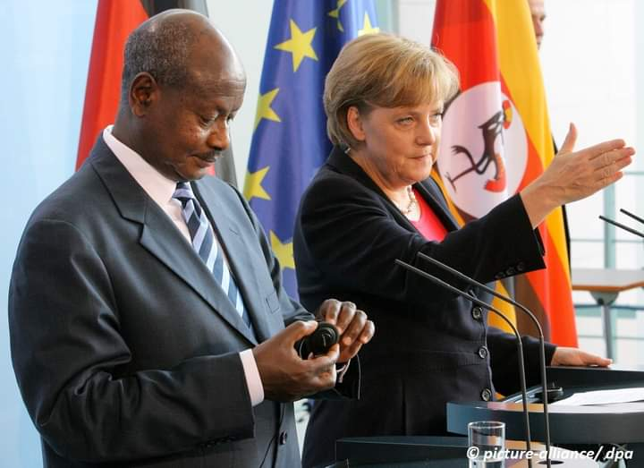 President Museveni and German Chancellor Markel in Berlin in 2007(PHOTO /File)