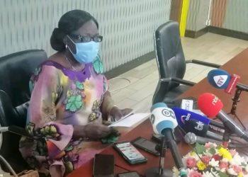 MP Rebecca Kadaga addressing the press on Sunday evening (PHOTO/Courtesy).