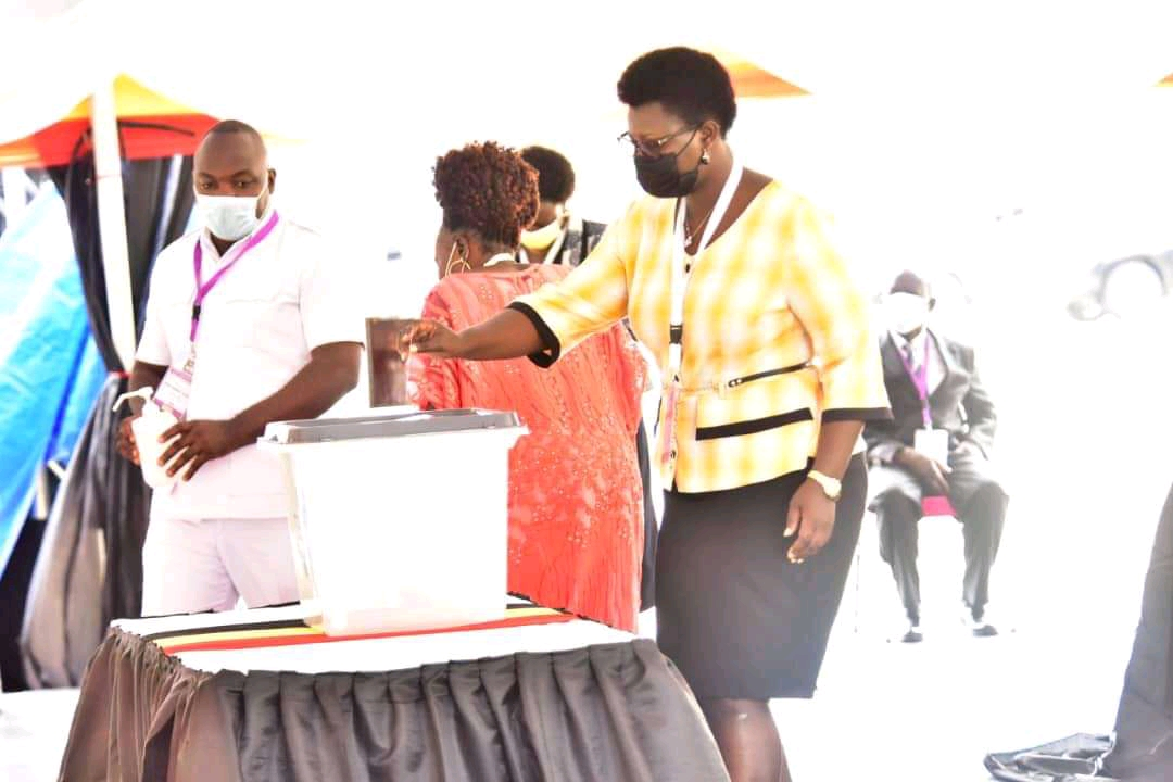 An MP casting her vote at Kololo independence ground on Monday (PHOTO/Courtesy).