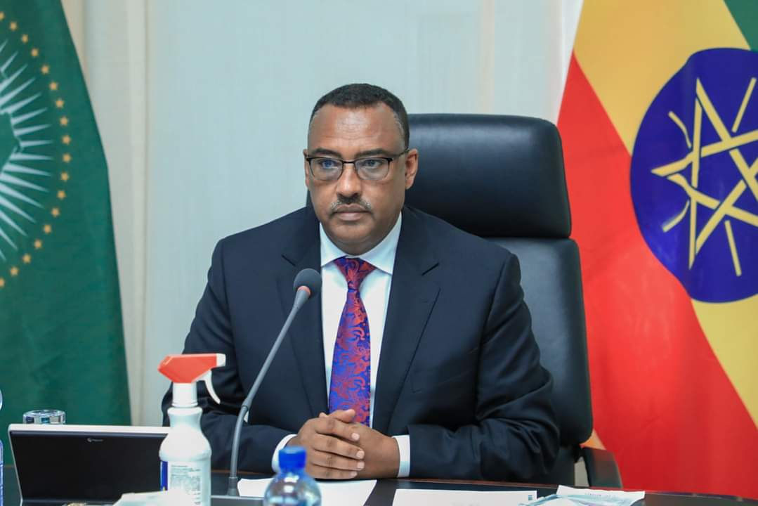 H.E. Demeke Mekonnen, the Deputy Prime Minister of the Federal Republic of Ethiopia virtually delivers his key note speech at the Webinar (PHOTO/Courtesy).