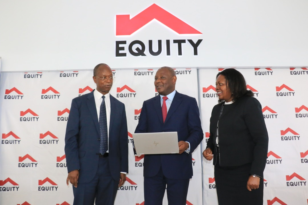 Equity Group MD & CEO Dr. James Mwangi (centre), Equity Group Board Chair Prof. Isaac Macharia (left) & Equity Group Executive Director Mary Wamae (right) discuss the quarter one 2021 results during the investor briefing (PHOTO /Courtesy)