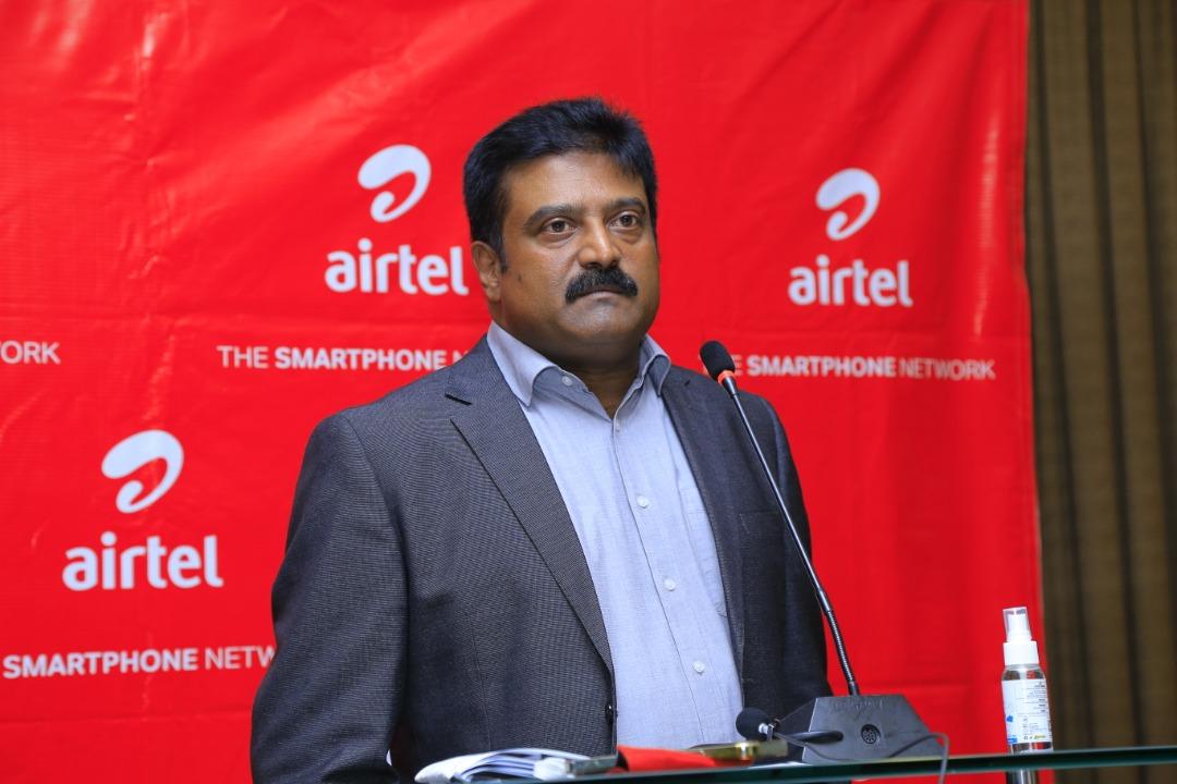 Airtel Uganda Managing Director Manoj Murali, addressing the media This was during the Airtel Uganda 2020 and Future Performance Media Round Table held today at Kampala Serena