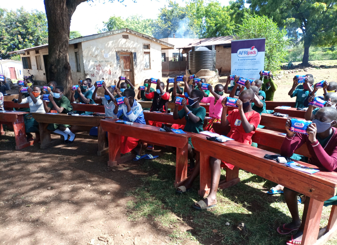 Army Primary School pupils after receiving their pads from Afri pads on Friday in Moroto army primary school in Moroto district (PHOTO/PML Daily).