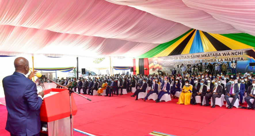 President Museveni speaking at State House in Dar-es Salaam on Thursday (PHOTO/Courtesy).