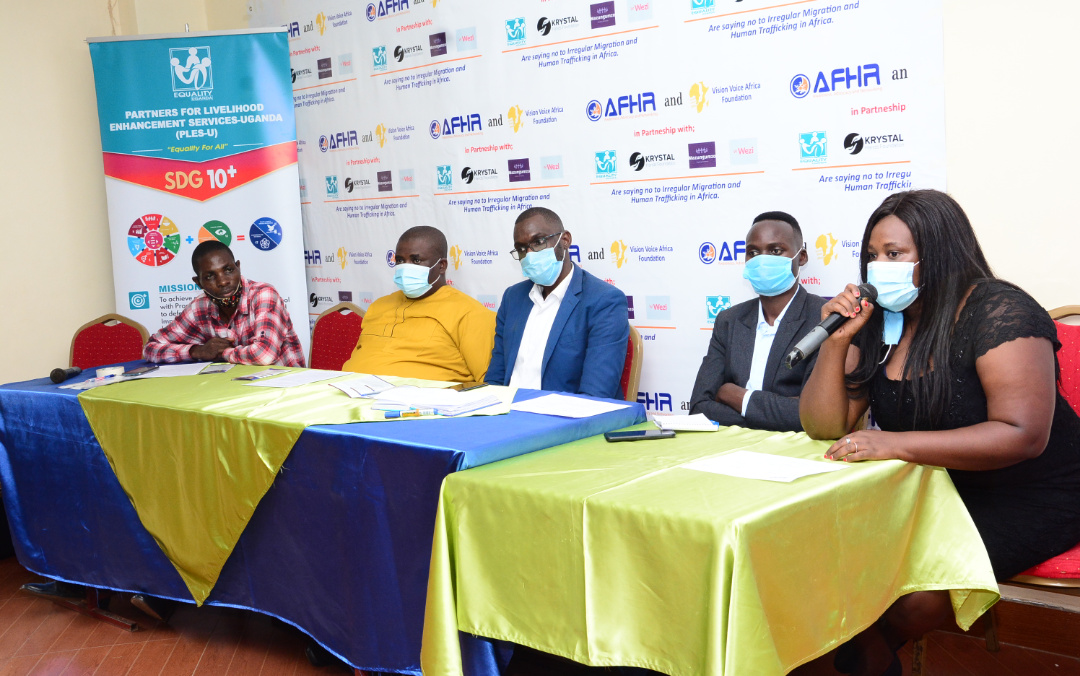 Officials from Vision Voice for Africa (VVAF) address the media at Grand Global Hotel in Makerere (PHOTO/PML Daily).