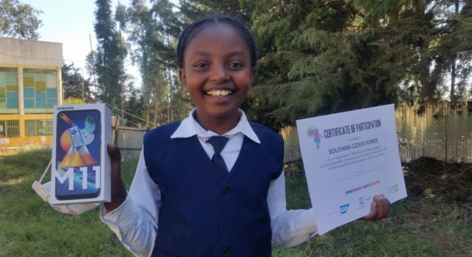 Soliyana Gizaw Hunde, ten year-old coder and recent winner of the inaugural AfriCANCode Challenge (PHOTO/Courtesy).