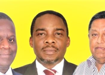 Attorney General William Byaruhanga (C) and lawyer Masembe Kanyerezi (L) and Karim Hirji (R) - reportedly connived to deny tycoon's stepchildren right to inheritance. (PHOTO/Internet)