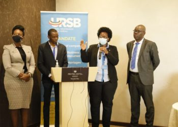 L-R: Uganda Law Society President, Pheona Wall, Gilbert Agaba Director Intellectual Property, Mercy Kainobwisho, Registrar General & Paul Asiimwe of Sipi Law Firm during the launch of URSB's Journal (PHOTO/Courtesy).