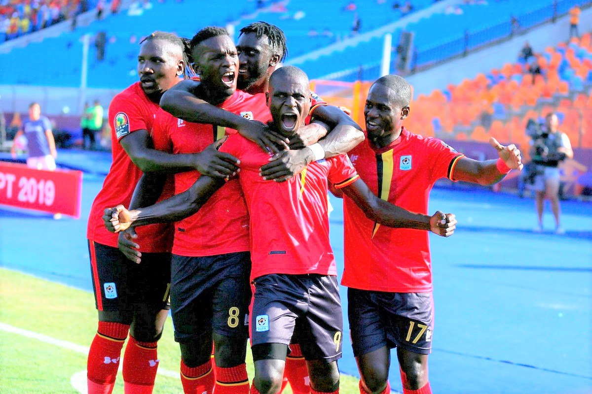 Uganda Cranes' players celebrate a goal during an Afcon qualifier. Fifa's decision to postpone the World Cup qualifiers, seem to be a blessing for the coach-less team that has registered a number of retirees as well as suspensions of its playing staff. (PHOTO/File)