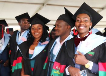 Graduands from CHUSS pose for the camera on Day 4 of the 70th Graduation Ceremony on 17th January 2020, Freedom Square, Makerere University, Kampala Uganda (PHOTO/Courtesy)