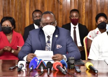 Leader of Opposition in Parliament Mathias Mpuuga address the media (PHOTO /Courtesy)