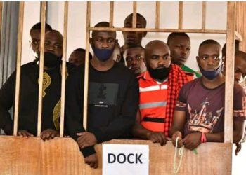 The jailed Bobi Wine supporters in the dock before they were granted bail on Monday (PHOTO/Courtesy).