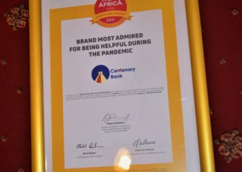 Centenary Bank was recognized for being the most helpful brand during COVID-19 and the Most Admired Financial Services Brand in Uganda (PHOTO /Courtesy)
